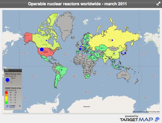 Numarul de reactoare nucleare functionale la 2 martie 2011