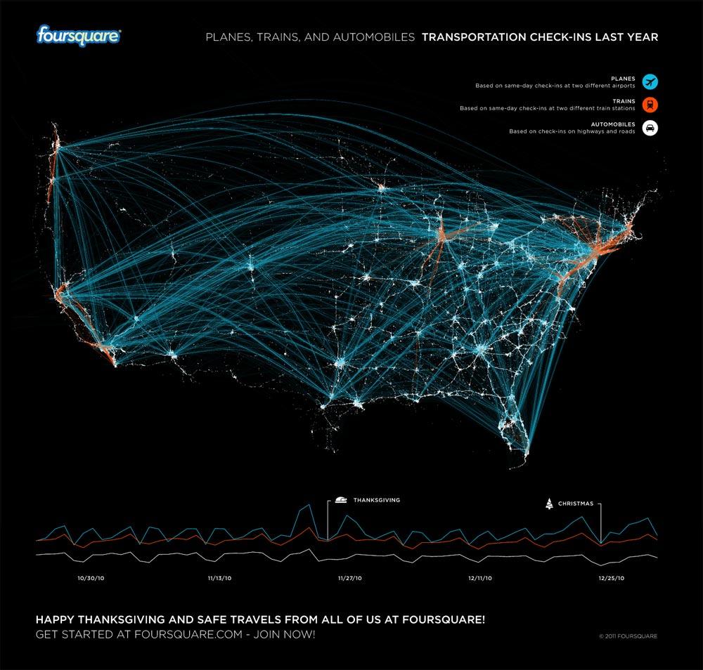Calatoriile din USA pe foursquare