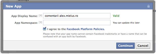 formularul de comentarii de la Facebook